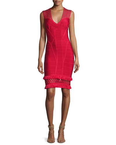 V-Neck Cutout Fringe-Trim Bandage Dress, Red