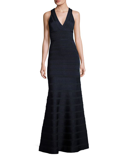 Sofia Sleeveless Metallic-Stripe V-Neck Bandage Gown, Blue