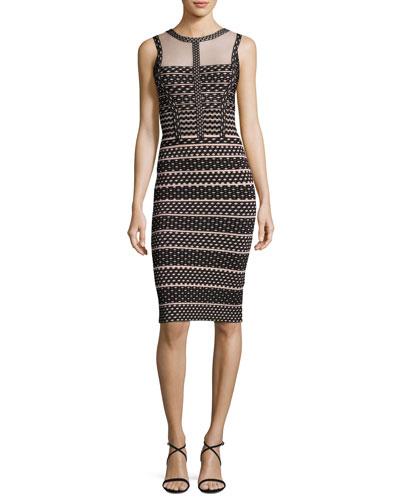 Seline Jacquard Mesh Cocktail Dress