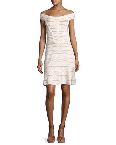 Camira Off-the-Shoulder Bandage Cocktail Dress, Alabaster