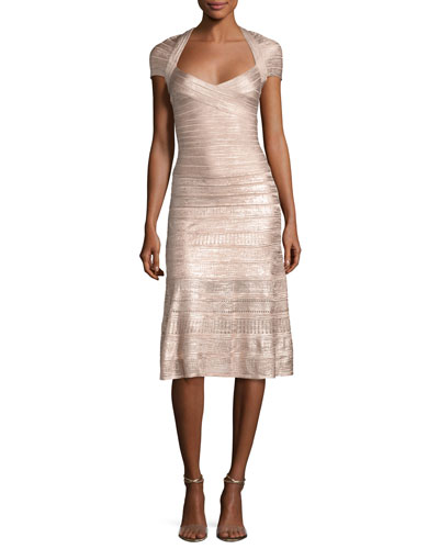 Foil Cap-Sleeve Bandage Midi Dress, Pink Metallic