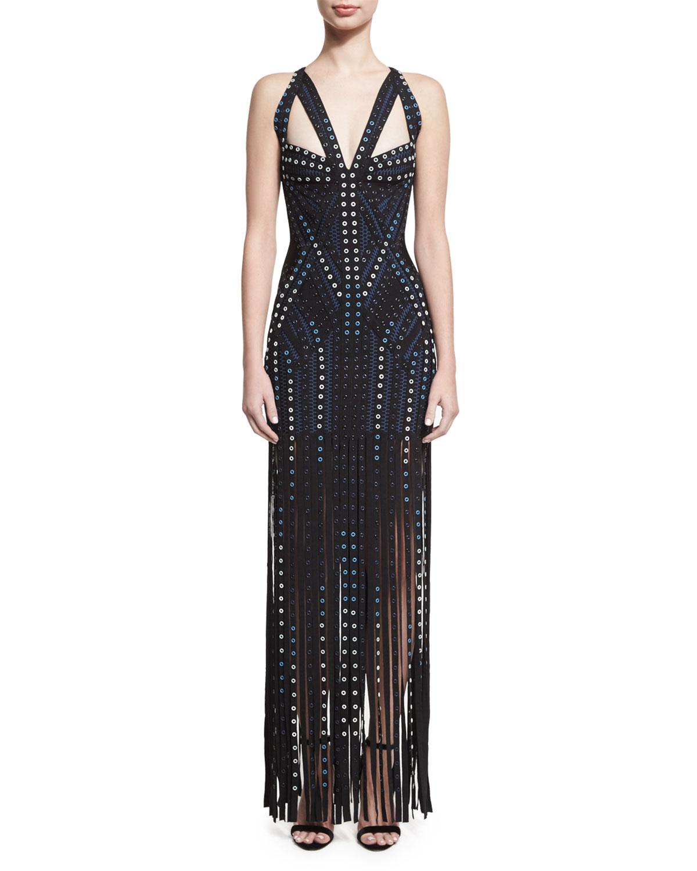 Grommet-Embellished Sleeveless Bandage Gown with Fringe Skirt, Black