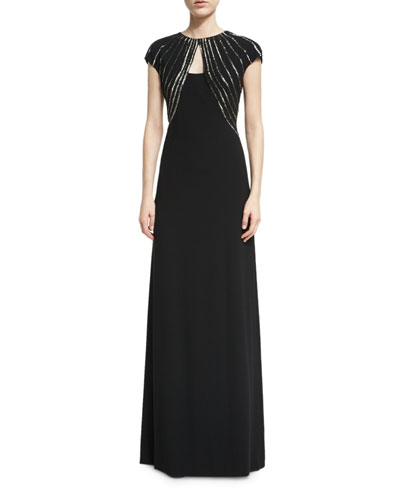 Cap-Sleeve Gown with Bolero Illusion