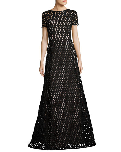 Macrame Lace Short-Sleeve Gown, Black