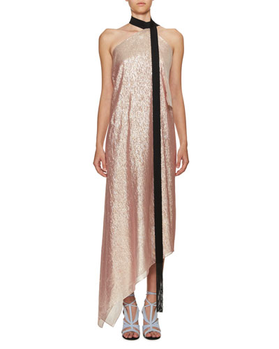 Copernicus Metallic Georgette Halter Dress, Pink/Black