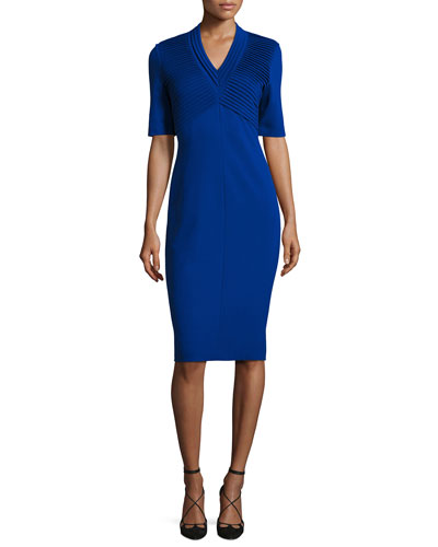 Dondi Plissé Sheath Dress, Blue