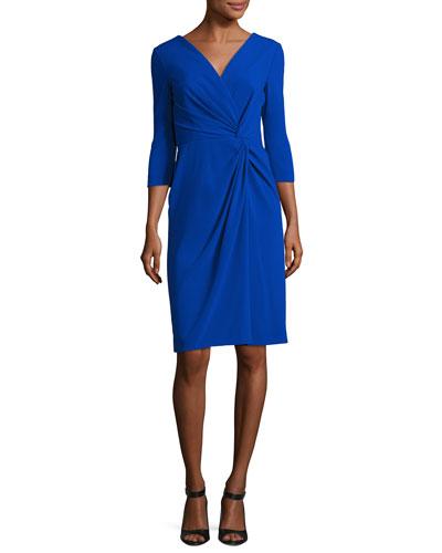 Twist-Front 3/4-Sleeve Cocktail Dress, Blue