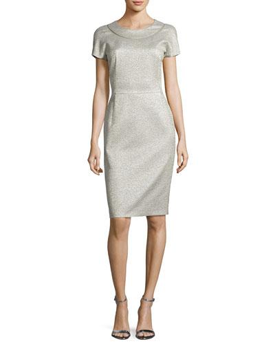 Metallic Jacquard Cap-Sleeve Sheath Dress, Silver