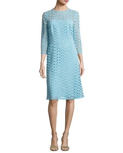 Eve Macramé Lace 3/4-Sleeve Dress, Blue