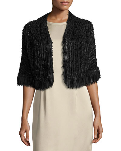 Fringe-Trim Braided Leather Bolero Jacket, Black