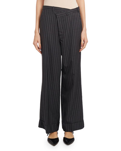 Cropped Wide-Leg Pinstripe Pants, Dark Gray