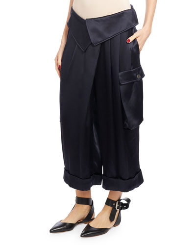 Pleated Satin Cargo Pants, Navy