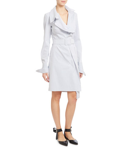 Striped Belted French-Cuff Shirtdress, Blue/White