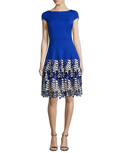 Kovalic Lace-Hem Cap-Sleeve Cocktail Dress, Royal