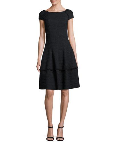 Kovalic Full-Skirt Cap-Sleeve Dress, Black