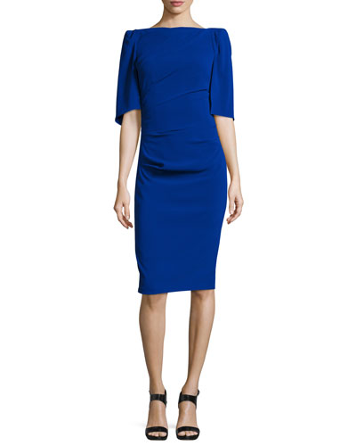 Lobata Cape-Sleeve Cocktail Dress, Blue
