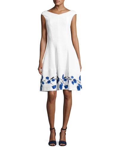 Mojag Watercolor Tulip Cap-Sleeve Dress, White