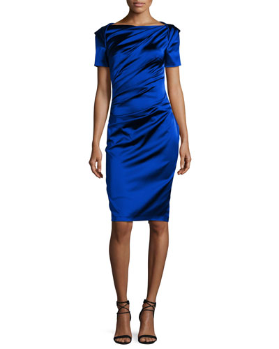 Monument Ruched Satin Short-Sleeve Dress, Royal