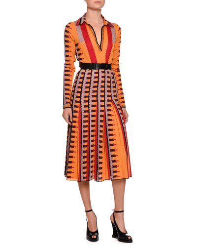 Knit Intarsia Long-Sleeve Polo Dress, Multicolor