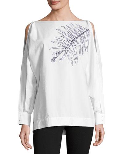 Leaf-Embroidered Cold-Shoulder Blouse, White