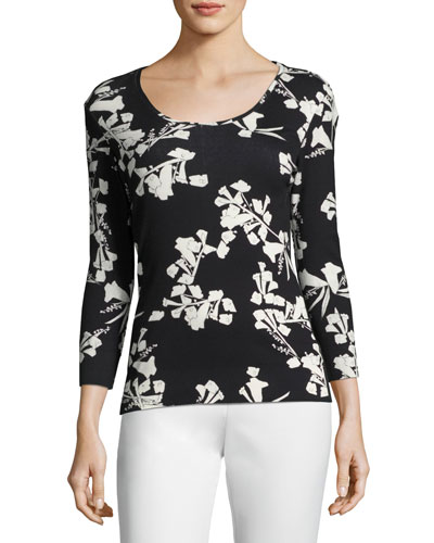 Snapdragon-Print 3/4-Sleeve Tee, Black/Multi