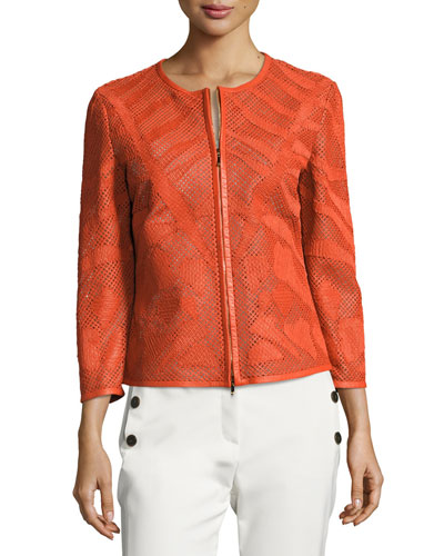 Leaf-Cut Leather 3/4-Sleeve Jacket, Orange
