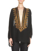 Embroidered Georgette Caftan Tunic