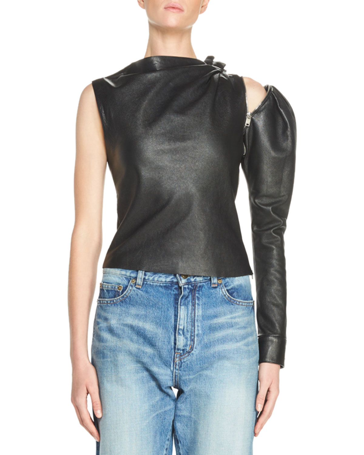 Leather Zip-Sleeve Drape-Neck Top, Black