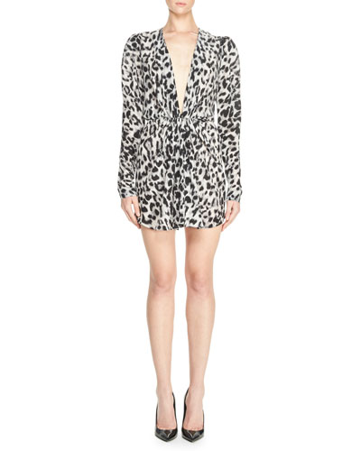 Leopard-Print Plunging Long-Sleeve Minidress