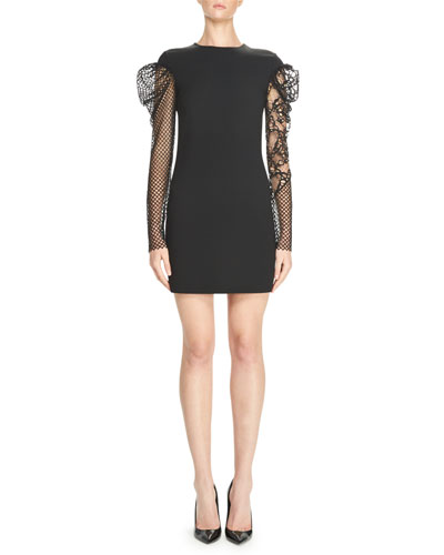 Fitted Minidress with Lace & Mesh Sleeves, Black