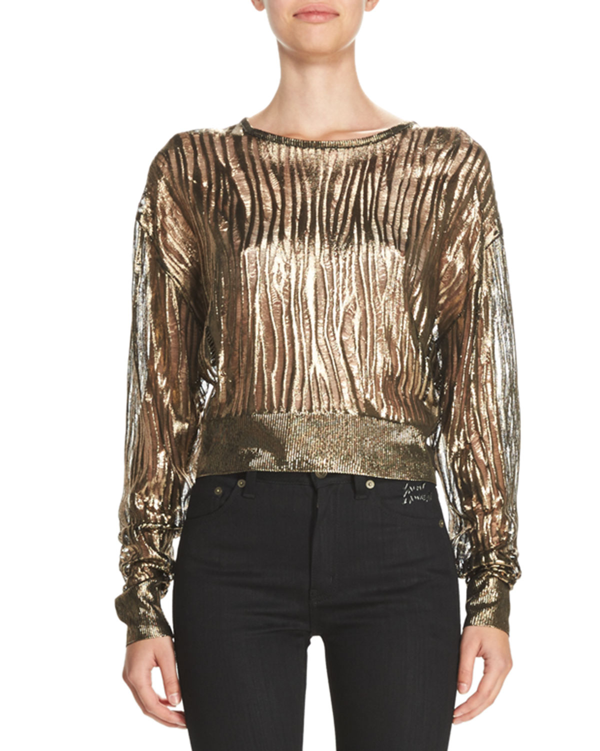 Metallic Burnout Cropped Sweater