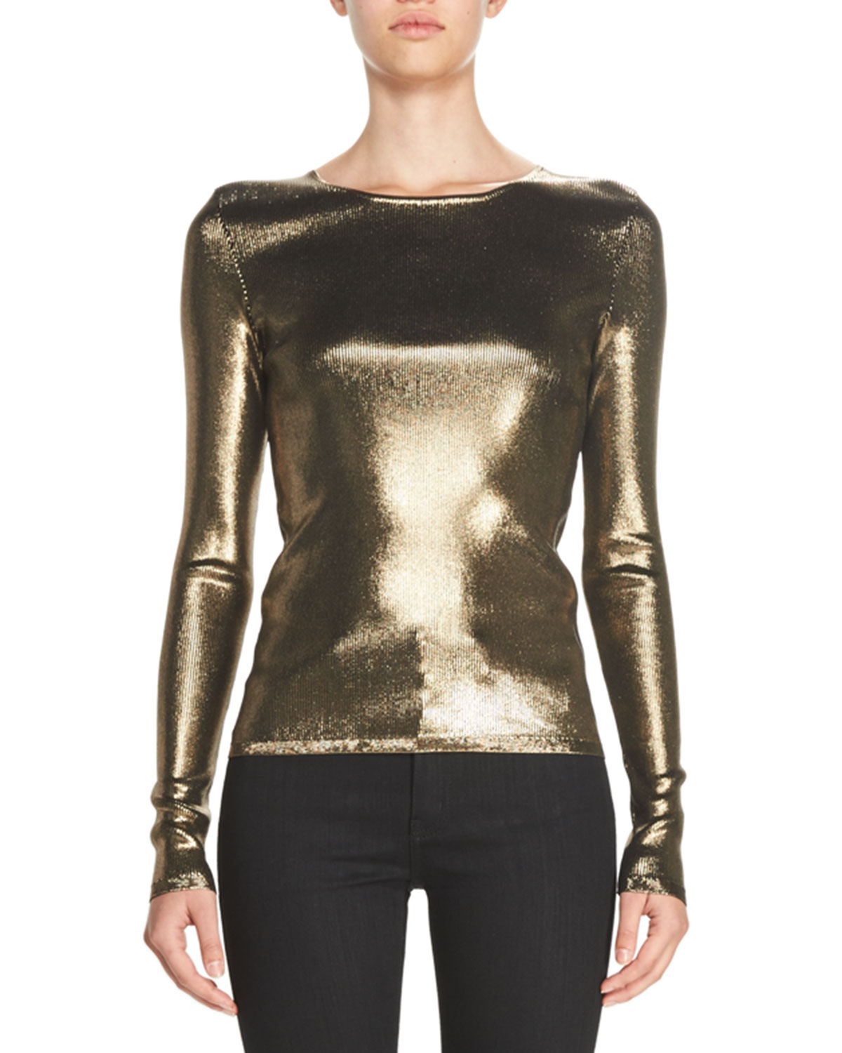 Metallic Ribbed-Knit Fitted Sweater, Bronze