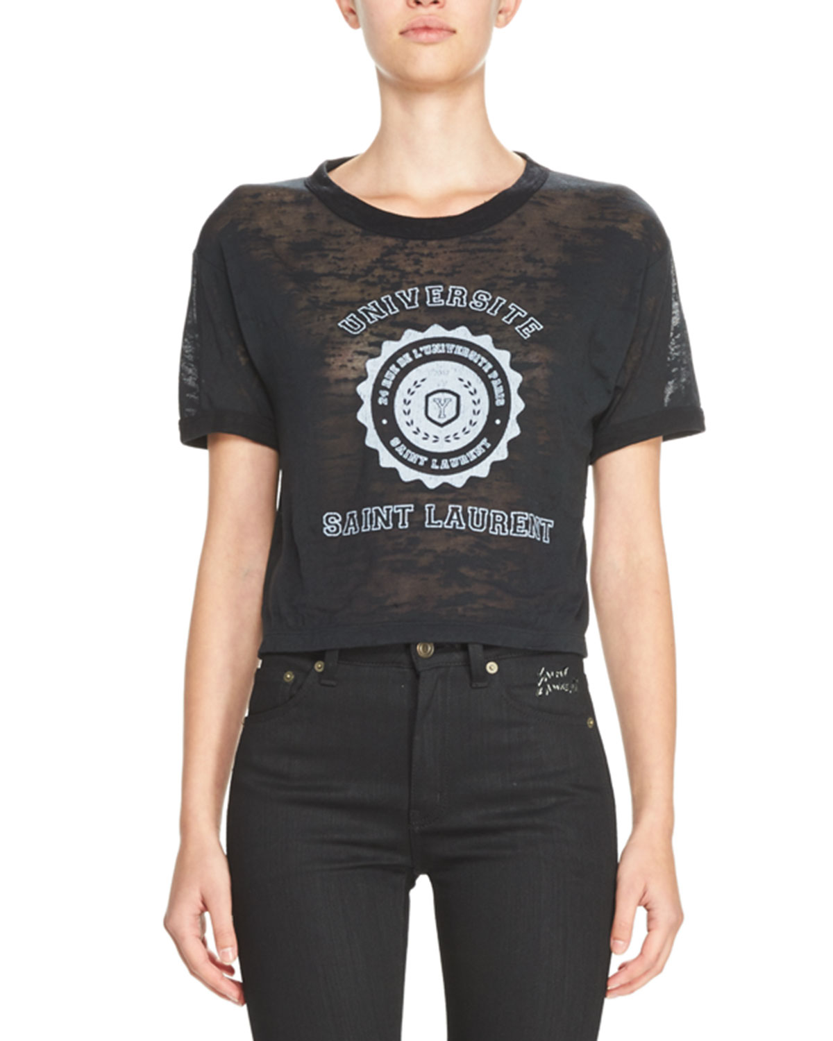 Université Saint Laurent Cropped Burnout T-Shirt, Black/White