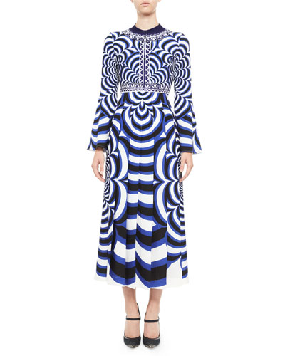 Desmine Printed Bell-Sleeve Midi Dress, Blue/Multi