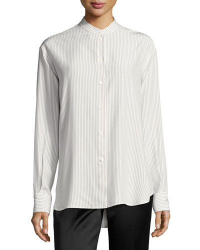 Striped Band-Collar Blouse