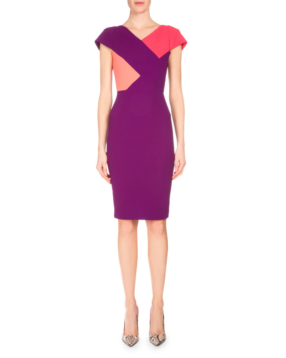 Tournay Colorblock Sheath Dress, Grape/Watermelon