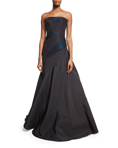 Strapless Gown with Metallic Leather Trim, Blue/Black