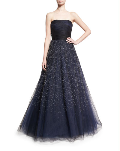 Strapless Beaded Tulle Ball Gown, Black/Blue