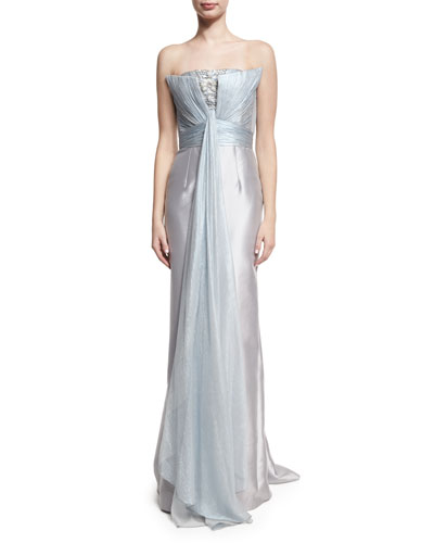 Strapless Beaded Drape-Front Gown, Light Blue