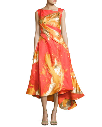 Metallic-Print Draped Cocktail Dress with Asymmetric Hem, Bright Orange