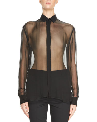 Silk Mousseline Shirt, Black