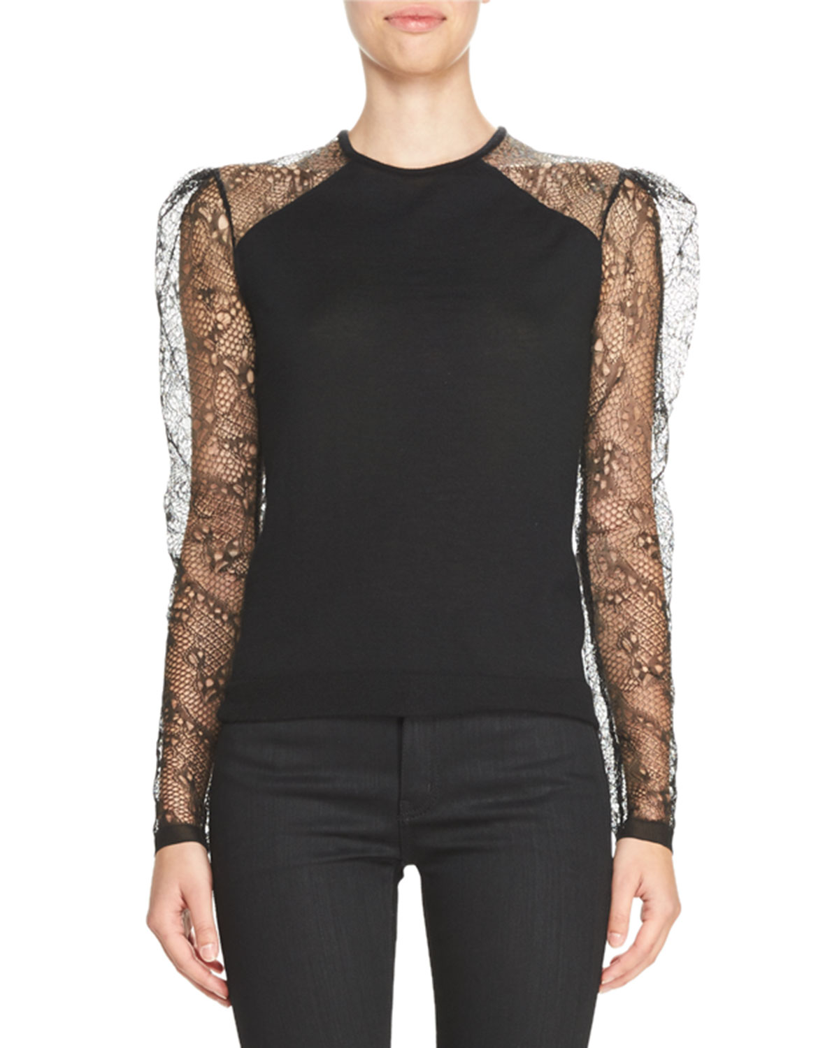 Lace-Sleeve Crewneck Pullover, Black