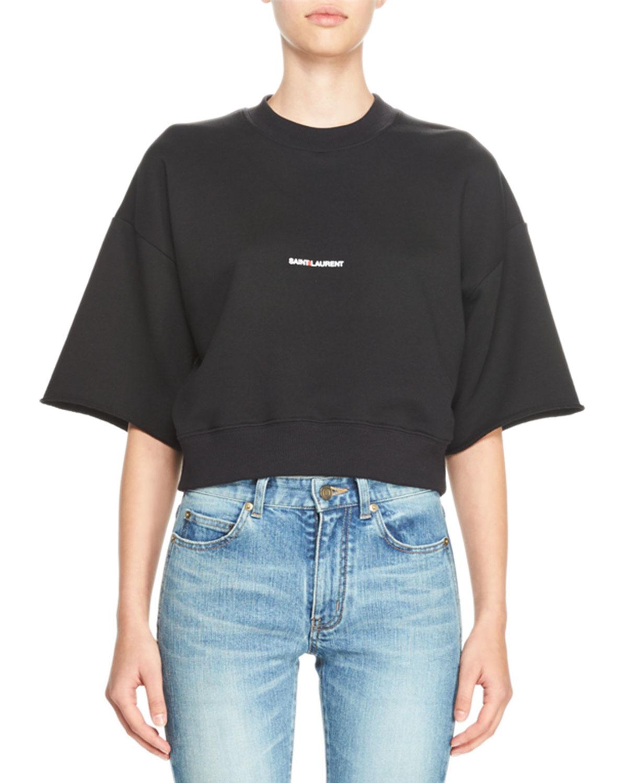 Cropped Half-Sleeve Logo Sweatshirt