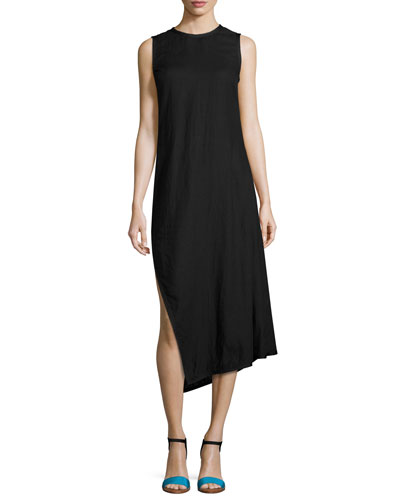 Sleeveless Bias-Cut Linen Midi Dress, Black