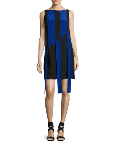 Sleeveless Front-Sash A-Line Dress, Black/Azul