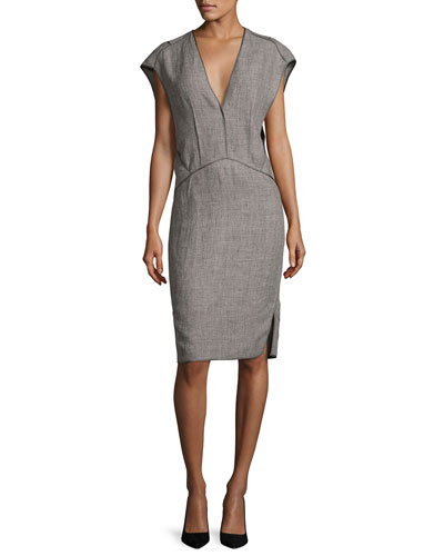 Cap-Sleeve Linen Sheath Dress with Binding, Gray