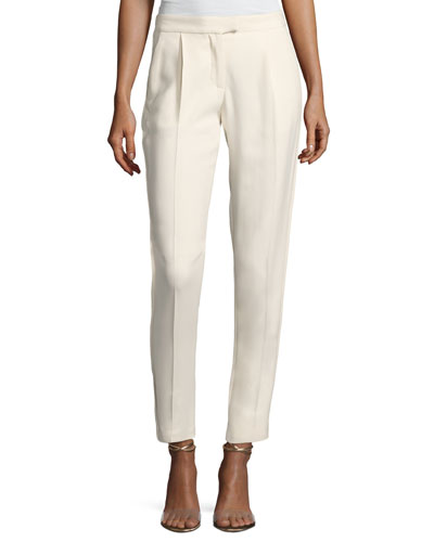 Straight-Leg Satin-Trim Pants, White