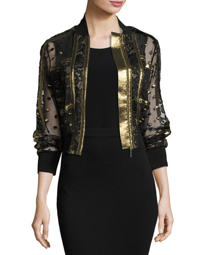 Embroidered Tulle & Lace Bomber Jacket, Black/Gold