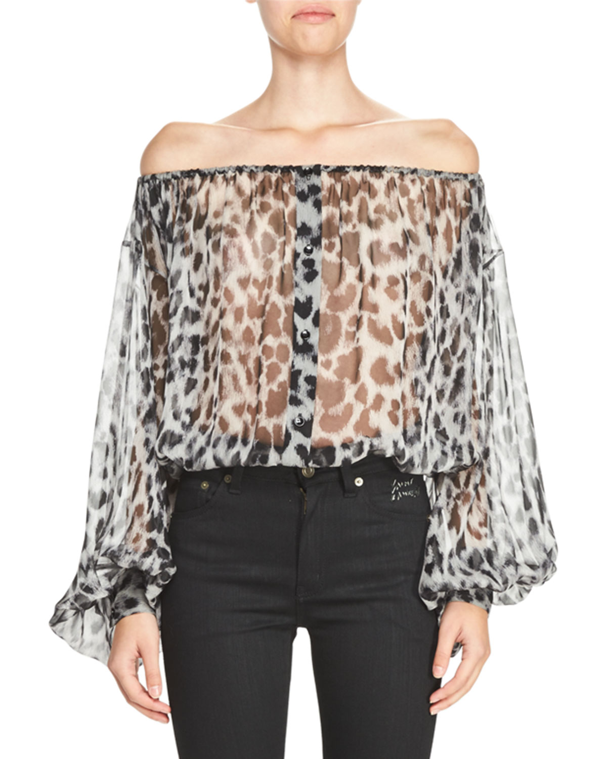 Off-the-Shoulder Leopard-Print Peasant Blouse