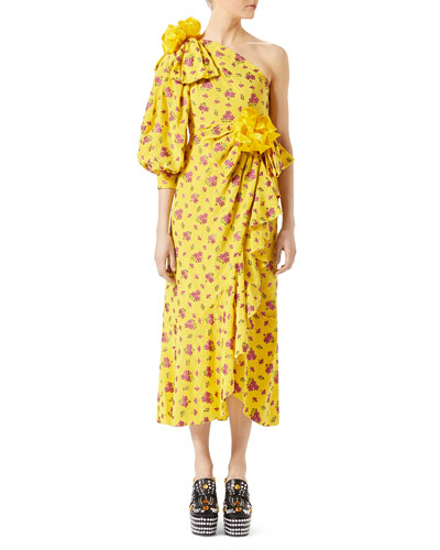 Little Flower Georgette One-Shoulder Gown, Yellow